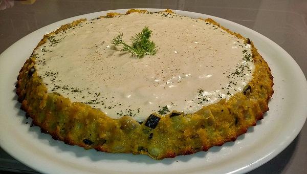 Sun Flower Omelette Frittata Vegana con Crema Crema di Carote e Zucca e Formaggio Vegano Home Made